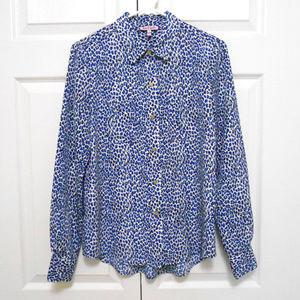 Juicy Couture Leopard Button Down Shirt Blouse S
